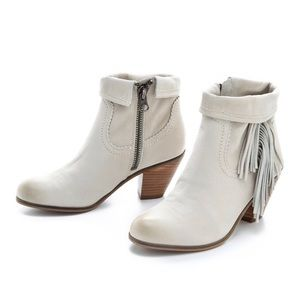 Sam Edelman | White Louie Fringe Booties